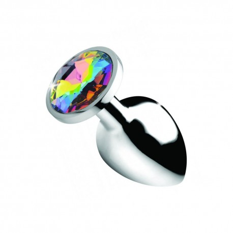 Metal Anal Plug Jewel Rainbow Prism Gem Large