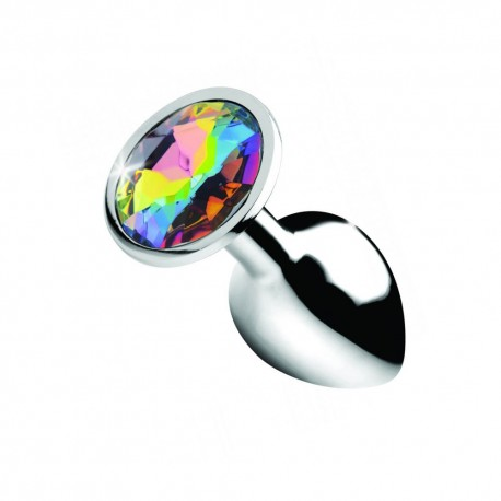 Metal Anal Plug Jewel Rainbow Prism Gem Small