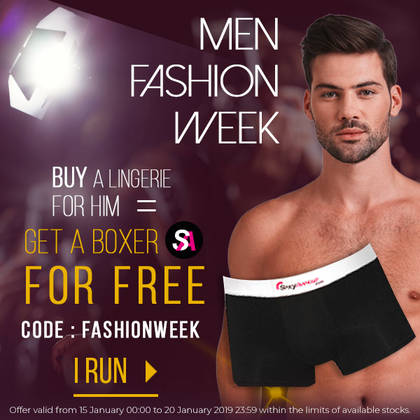 On the occasion of Men Fashion Week, a boxer SexyAvenue offered for any purchase of a lingerie for him!